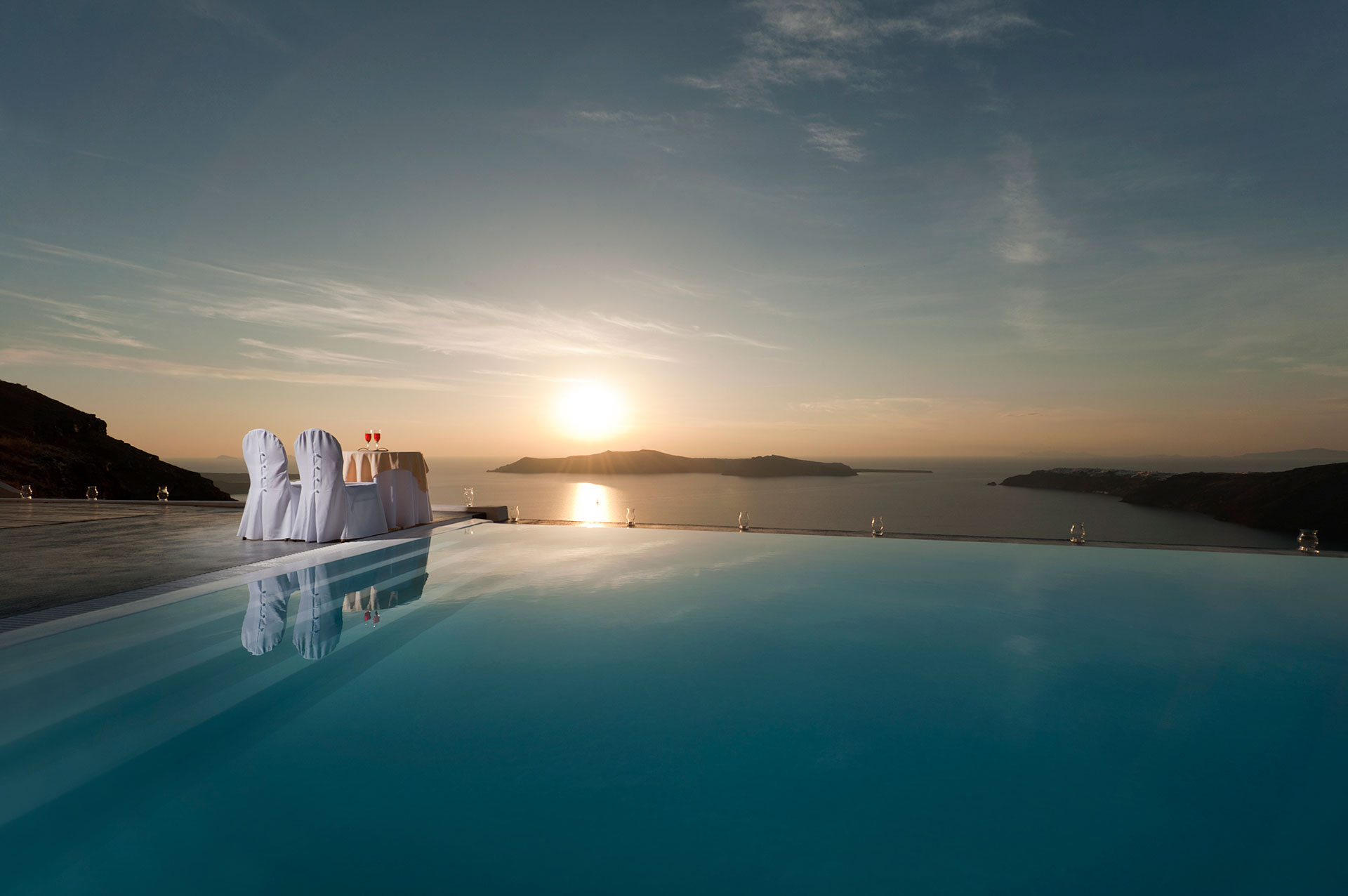 Pics For > Santorini Sunset Pool